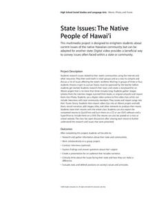 State Issues: The Native People of Hawaii Lesson Plan