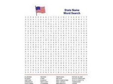 State Name Word Search Worksheet