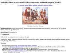 State of Affairs Between the Native Americans and the European Settlers Lesson Plan