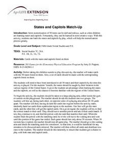 States and Capitols Match-Up Lesson Plan