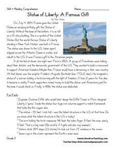 Statue of Liberty: A Famous Gift Worksheet
