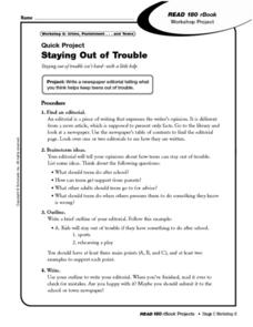 Staying Out of Trouble: Newspaper Editorial Worksheet