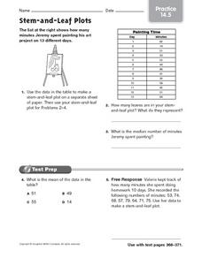 Stem and Leaf Plots: Practice Worksheet