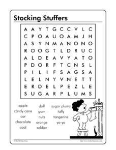 Stocking Stuffers Word Search Worksheet
