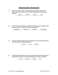 Stoichiometry Homework Worksheet