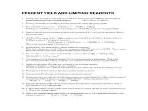 Stoichiometry, Percent Yield and Limiting Reagents: practice problems ...