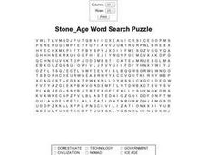 Stone Age Word Search Puzzle Worksheet