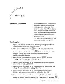 Stopping Distance Lesson Plan