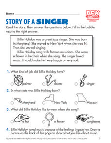 Story of a Singer: Billie Holiday Comprehension Activity Lesson Plan