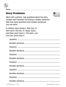 Story Problems Worksheet