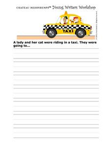 Story Starter-- Lady And Her Cat in a Taxi Worksheet