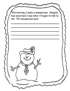 Story Starter Snowperson Writing Worksheet