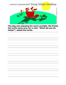 Story Starter-- The Turtle And the Dog Worksheet