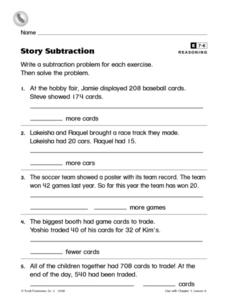 Story Subtraction Worksheet