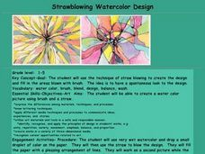 Strawblowing Watercolor Design Lesson Plan