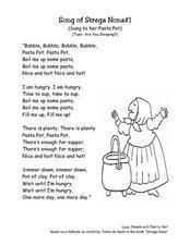 Strega Nona: Retell Song Lyrics Worksheet