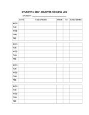 Student's Self-Selected Reading Log Worksheet