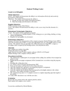 Student Writing Center Lesson Plan