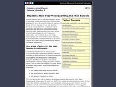 Students: How They View Learning And Their Schools Lesson Plan