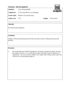 Students' Personal Inventory Lesson Plan