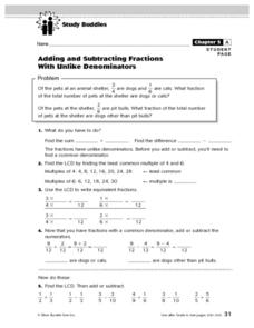 Study Buddies: Adding And Subtracting Fractions With Unlike Denominators Lesson Plan