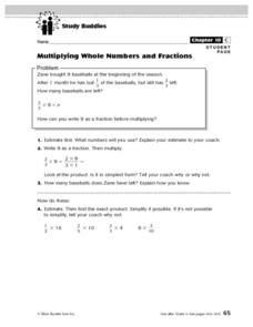 Study Buddies: Multiplying Whole Numbers And Fractions Lesson Plan