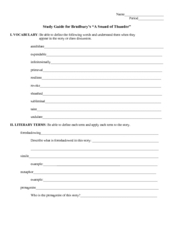 Study Guide: A Sound of Thunder Worksheet