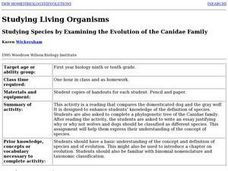 Studying Species By Examining the Evolution of the Canidae Family Lesson Plan
