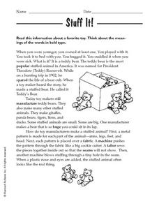 Stuff It! Worksheet