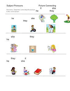 Subject Pronouns Picture Connecting Worksheet