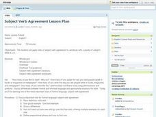 Subject Verb Agreement Lesson Plan Lesson Plan