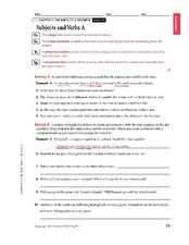 Subjects and Verbs Worksheet