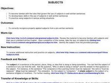 Subjects Lesson Plan