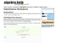 Substitution Worksheet Worksheet