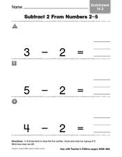 Subtract 2 From Numbers 2-5 Worksheet