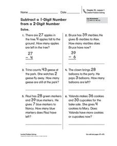 Subtract a 1-Digit Number from a 2-Digit Number Worksheet
