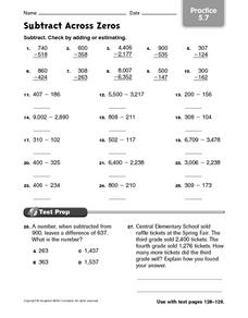Subtract Across Zeroes: Practice 5.7 Worksheet