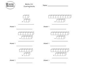 Subtract Counting Blocks Worksheet