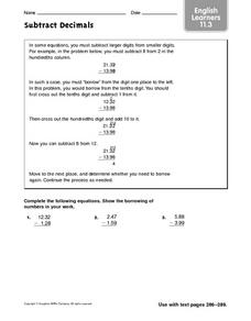 Subtract Decimals: ELL Worksheet