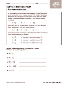 Subtract Fractions with Like Denominators: ELL Worksheet
