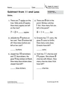 Subtract from 11 and Less Worksheet