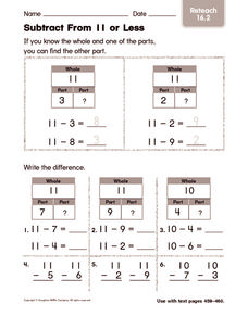 Subtract From 11 or Less Worksheet