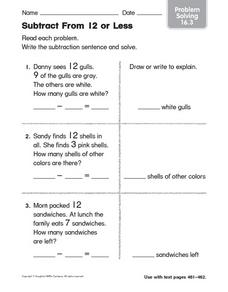 Subtract From 12 or Less Worksheet