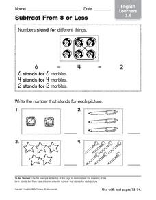 Subtract From 8 or Less Worksheet
