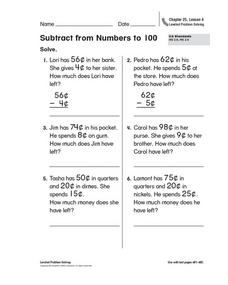 Subtract from Numbers to 100 Worksheet