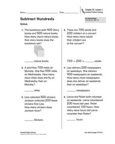 Subtract Hundreds Worksheet