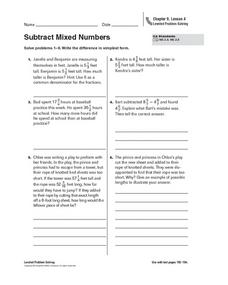 Subtract Mixed Numbers Worksheet