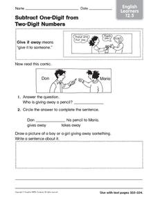 Subtract One-Digit from Two-Digit Numbers: English Learners Worksheet