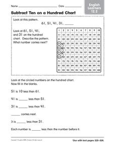 Subtract Ten on a Hundred Chart: English Learners Worksheet