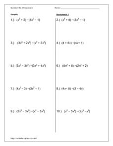 Subtract the Polynomials - Worksheet 1 Worksheet